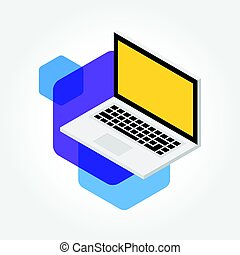 Isometric notebook with colorful hexagon, laptop design icon illustration