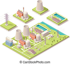 Isometric nuclear power facility - Vector isometric map of...