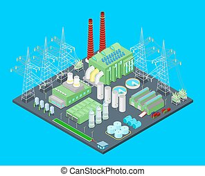 Isometric Nuclear Power Station with Pipes. Vector 3d flat...