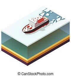 Isometric nuclear-powered icebreaker - Isometric icon...