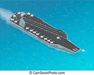 isometric, nukleáris, repülőgép, átutal, nuclear-powered, ...