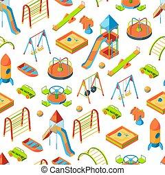 isometric, obiekty, próbka, ilustracja, wektor, plac gier i zabaw, tło, albo