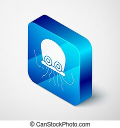 Isometric Octopus icon isolated on grey background. Blue square button. Vector