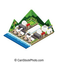 Isometric of nuclear power plants, vector, illustration