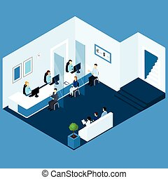 Isometric Office Banking Composition