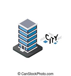 Isometric office building icon, building city infographic element, vector illustration