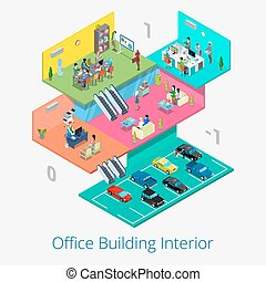 Isometric Office Center Interior. Business Meeting Room, Reception, Car Parking Floor. Vector 3d flat illustration