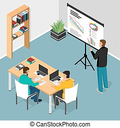 Isometric office. Concept of business meeting, exchange ideas and experience, coworking people, collaboration and discussion, vector illustration