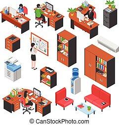 Isometric Office Elements Set
