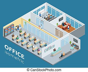 Isometric one level business office interior view with workroom reception and conference hall poster abstract vector illustration