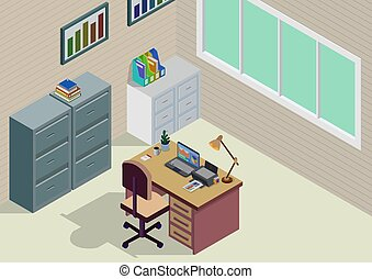 Isometric office room.