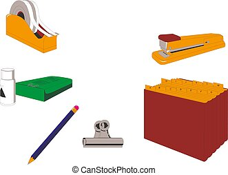 Isometric office stationery set. Stock vector.