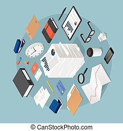 Isometric Office Work Illustration