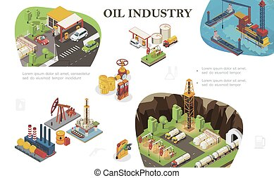 Isometric Oil Industry Composition