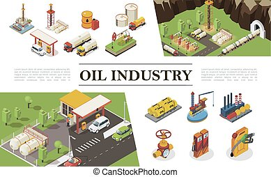 Isometric Oil Industry Elements Composition