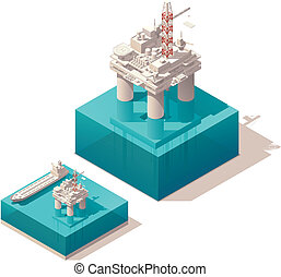 Isometric oil platform - Vector isometric oil rig with tank...