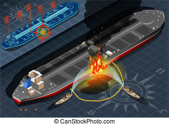 Isometric Oil Tanker Fire Disaster in Rear View - Detailed...