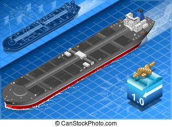 Isometric Oil Tanker in Front View - detailed illustration...