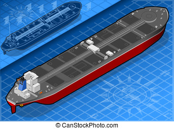 Isometric oil tanker in rear view