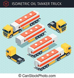 oil tanker truck - Isometric oil tanker truck with front and...