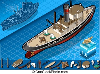 isometric old tugboat - detailed illustration of a isometric...