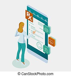 Isometric online doctor consultation, healthcare, medical concept. Online treatment recipe.