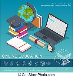 Isometric Online Education Colorful Composition