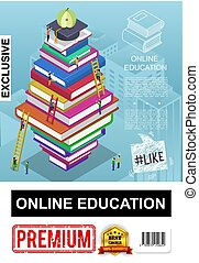 Isometric Online Education Poster