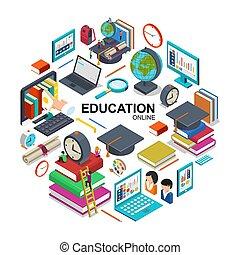 Isometric Online Education Round Concept