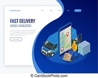 Isometric online Express, Free, Fast Delivery, Shipping concept. Checking delivery service app on mobile phone. Delivery-truck with cardboard box, mobile phone background. Vector illustration