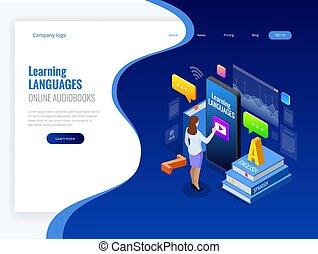 isometric, online, língua, aprendizagem, interface, e, ensinando, concept., online, língua, escola, lifestyle., educação, concept., vetorial, ilustração