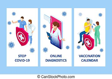 Isometric Online medical advise or consultation service, tele medicine, cardiology. Online treatment recipe. Medicine and pharmacy banners. Pharmacist care for the patient. Medicine industry