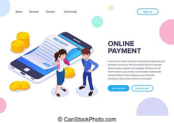 Isometric Online Payment Concept. Mobile phone with payment receipt. Gold coins or dollars. A man and woman are discussing the benefits of mobile payment.
