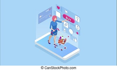 Isometric Online Shopping and payment, Sale, Consumerism,...
