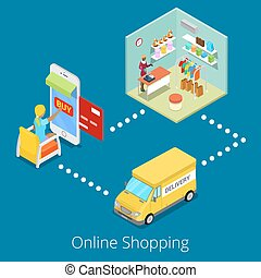Isometric Online Shopping. Flat 3d Woman Buying Clothes in Web Store with Delivery. Vector illustration
