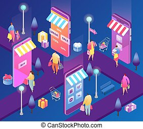 Isometric online shopping people vector illustration, cartoon 3d customer characters with shopper bag buy in discount sale using smartphone