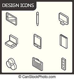 isometric, ontwerp, schets, iconen