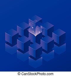 Isometric Open Box Neon Illustration