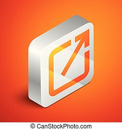 Isometric Open in new window icon isolated on orange background. Open another tab button sign. Browser frame symbol. External link sign. Silver square button. Vector Illustration