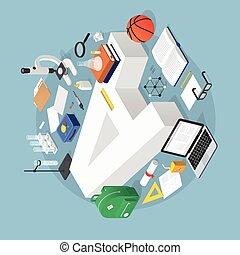 isometric, opleiding, concept, illustratie