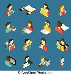 isometric, opleiding, set, lezende , iconen