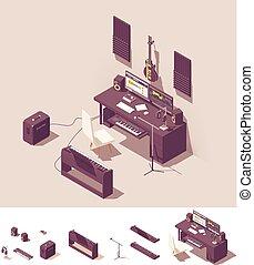 isometric, opname uitrustingsstuk, vector, studio, thuis