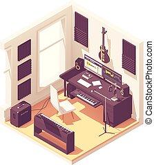 isometric, opname, vector, muziek, thuis, studio