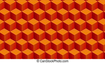 Isometric orange cubes pattern moving diagonally. Seamlessly loopable animation.