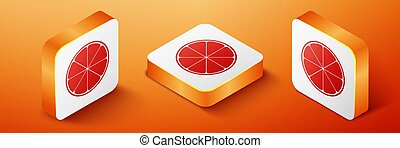 Isometric Orange in a cut. Citrus fruit icon isolated on orange background. Healthy lifestyle. Orange square button. Vector