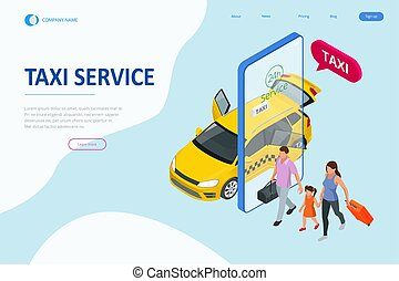 Isometric Ordering Online Taxi and Call a taxi online, mobile application concept for landing page. Street traffic, parking, city transport, GPS route point pins on smartphone and touchscreen