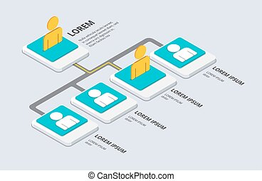 Isometric organization and sturcture concept. flat 3d organization pop-up from ground. vector illustration