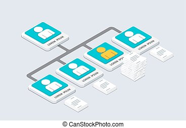 Isometric organization and sturcture. flat 3d organization pop-up from ground concept. vector illustration