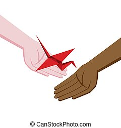 Isometric origami red crane. A gift with hope. Symbol of hope and healing. Hands of different races and nationalities. Help and support.