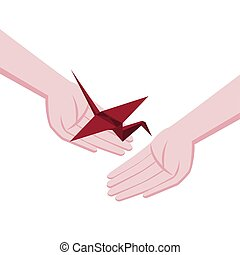 Isometric origami red crane. A gift with hope. Symbol of hope and healing. Helping hands and support.